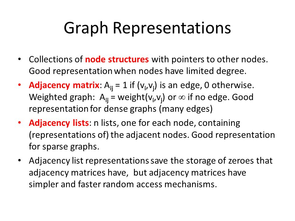 Graph Representations Collections of node structures with pointers to other nodes. Good representation when nodes have limited degree. Adjacency matri