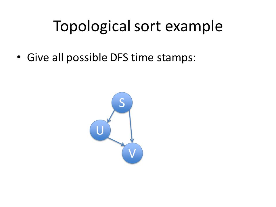 Topological sort example Give all possible DFS time stamps: S S U U V V