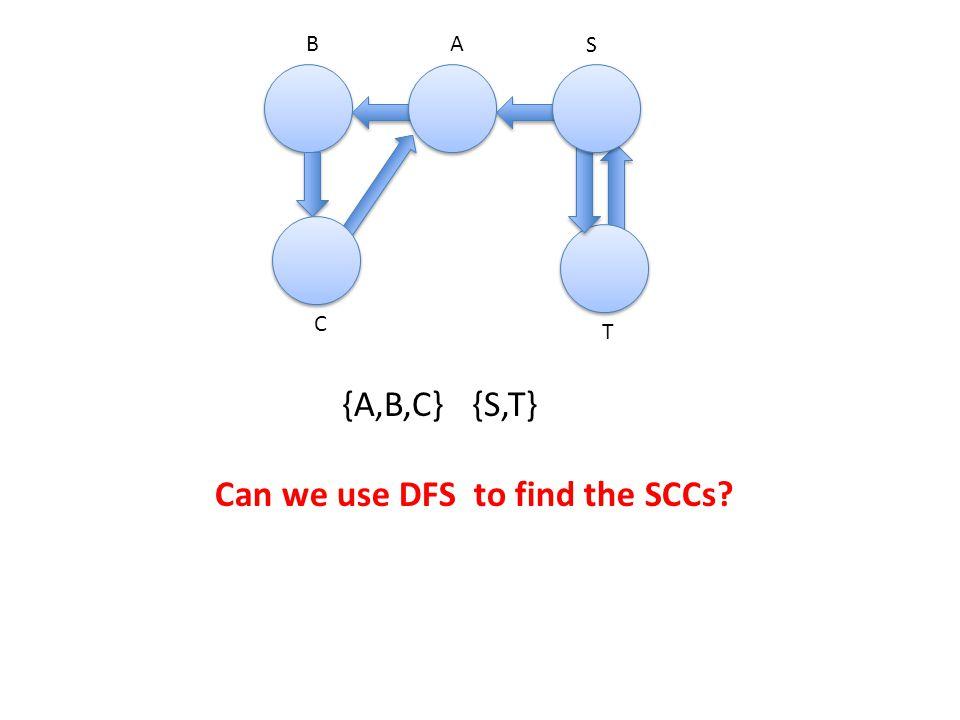 AB S C T {A,B,C} {S,T} Can we use DFS to find the SCCs?