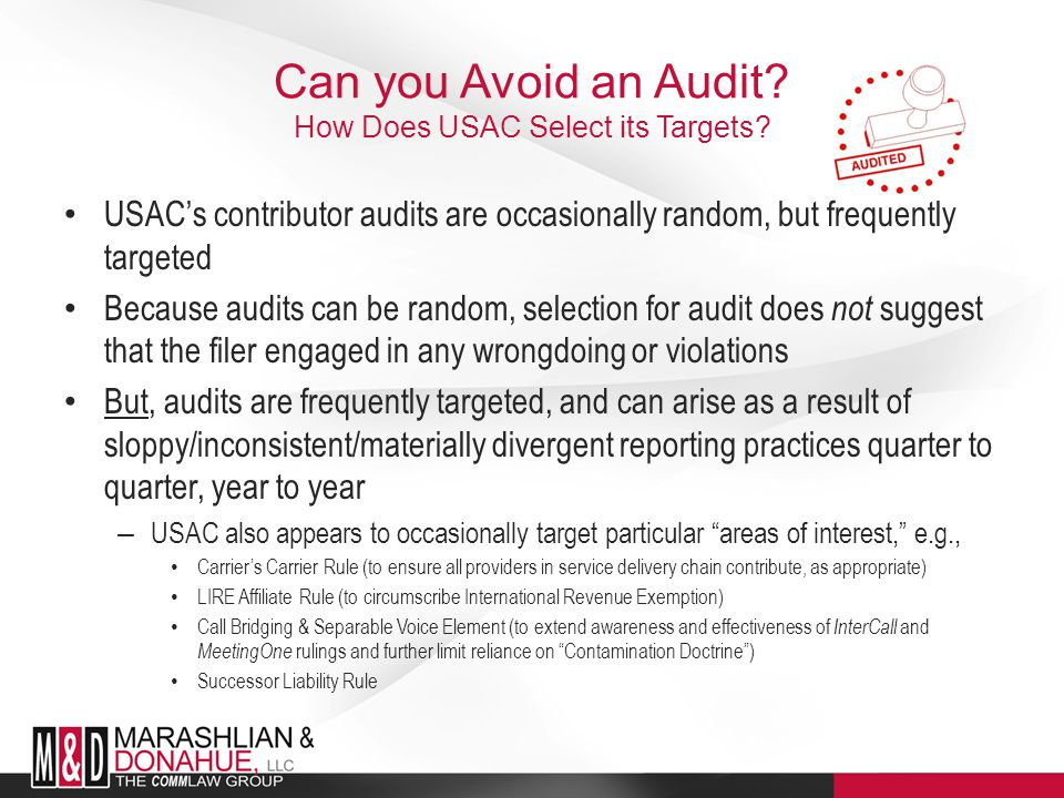 Can you Avoid an Audit.How Does USAC Select its Targets.