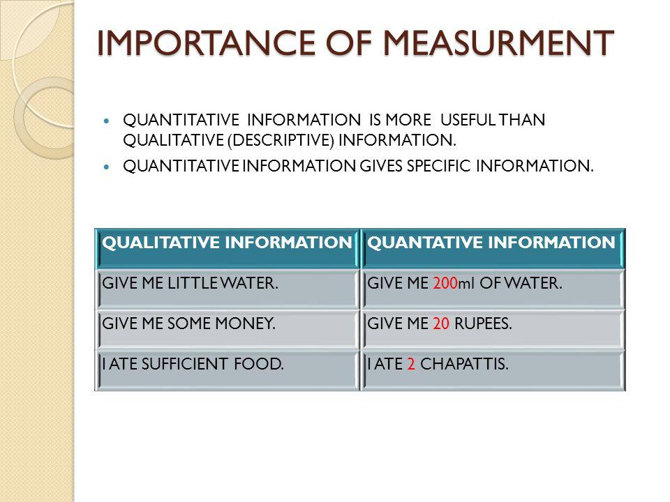 IMPORTANCE OF MEASURMENT QUANTITATIVE INFORMATION IS MORE USEFUL THAN QUALITATIVE (DESCRIPTIVE) INFORMATION.