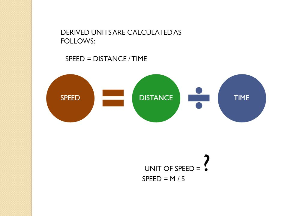 SPEEDDISTANCETIME DERIVED UNITS ARE CALCULATED AS FOLLOWS: UNIT OF SPEED = .