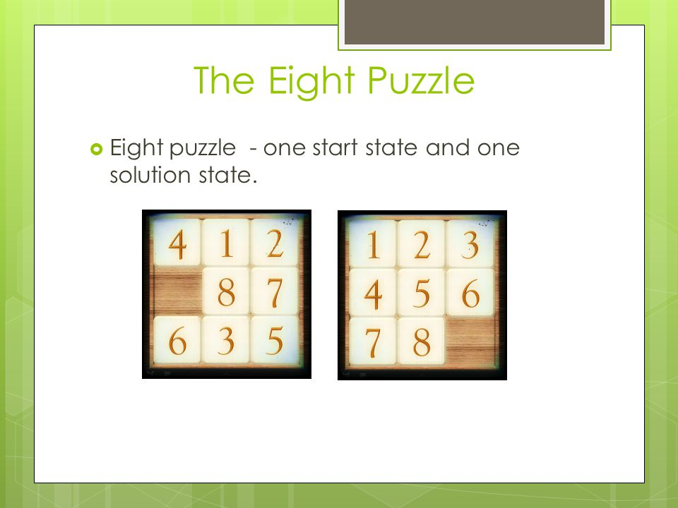 The Eight Puzzle  Eight puzzle - one start state and one solution state.