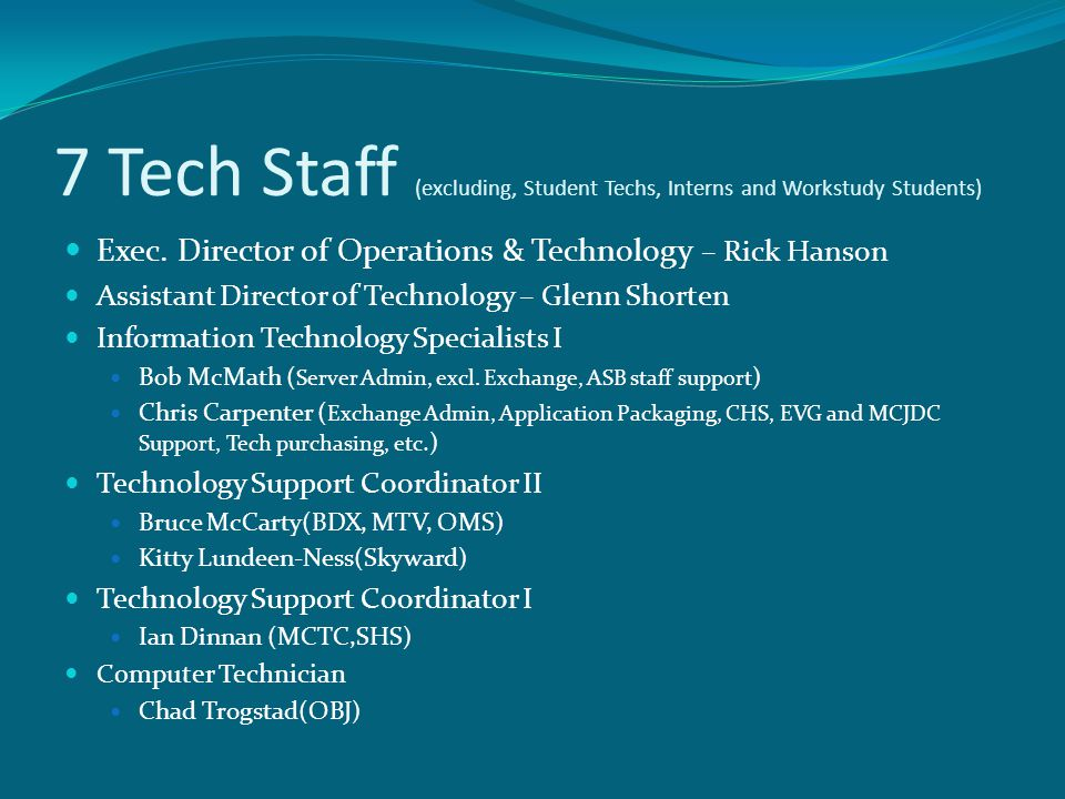 7 Tech Staff (excluding, Student Techs, Interns and Workstudy Students) Exec. Director of Operations & Technology – Rick Hanson Assistant Director of