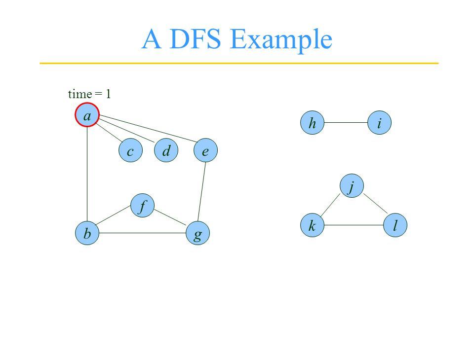 A DFS Example a l g f b ced j k ih time = 1