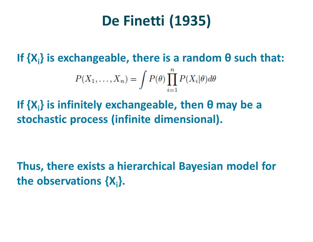De Finetti (1935) If {X i } is exchangeable, there is a random θ such that: If {X i } is infinitely exchangeable, then θ may be a stochastic process (infinite dimensional).