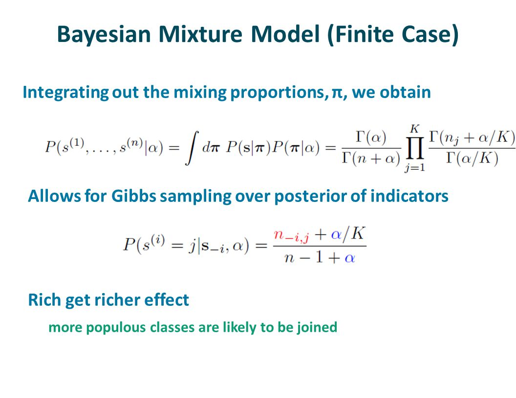 Bayesian Mixture Model (Finite Case) Integrating out the mixing proportions, π, we obtain Allows for Gibbs sampling over posterior of indicators Rich get richer effect more populous classes are likely to be joined