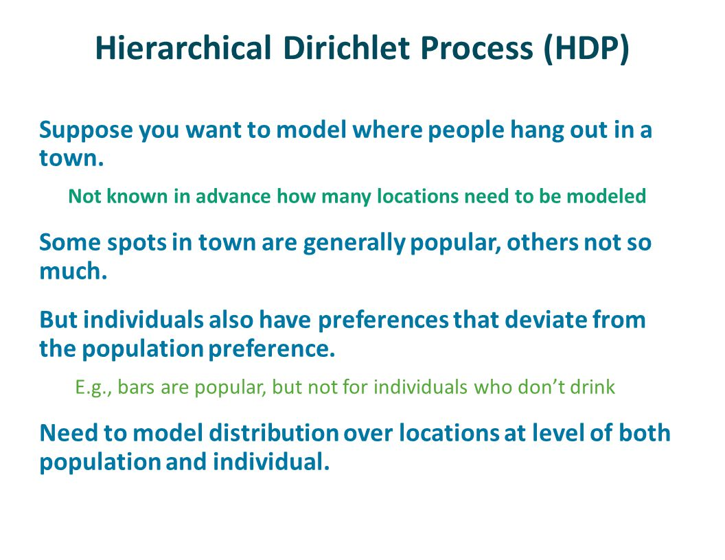 Hierarchical Dirichlet Process (HDP) Suppose you want to model where people hang out in a town.