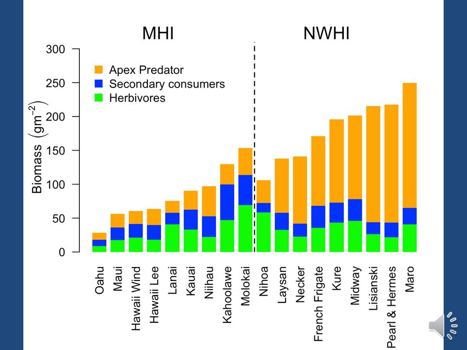 Human Impacts – Gradient of fish biomass within the MHI – Large difference in total biomass comparing NWHI and MHI – Fish assemblages have high concordance with traditional Hawaiian management systems – Comparison of MPAs across MHI