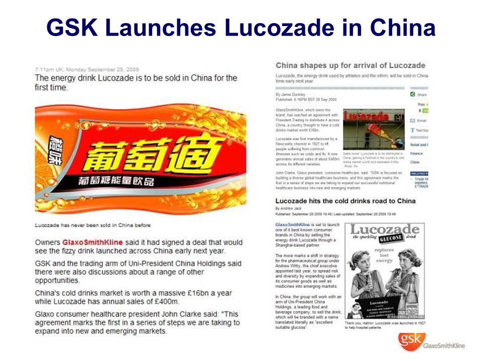 GSK Launches Lucozade in China