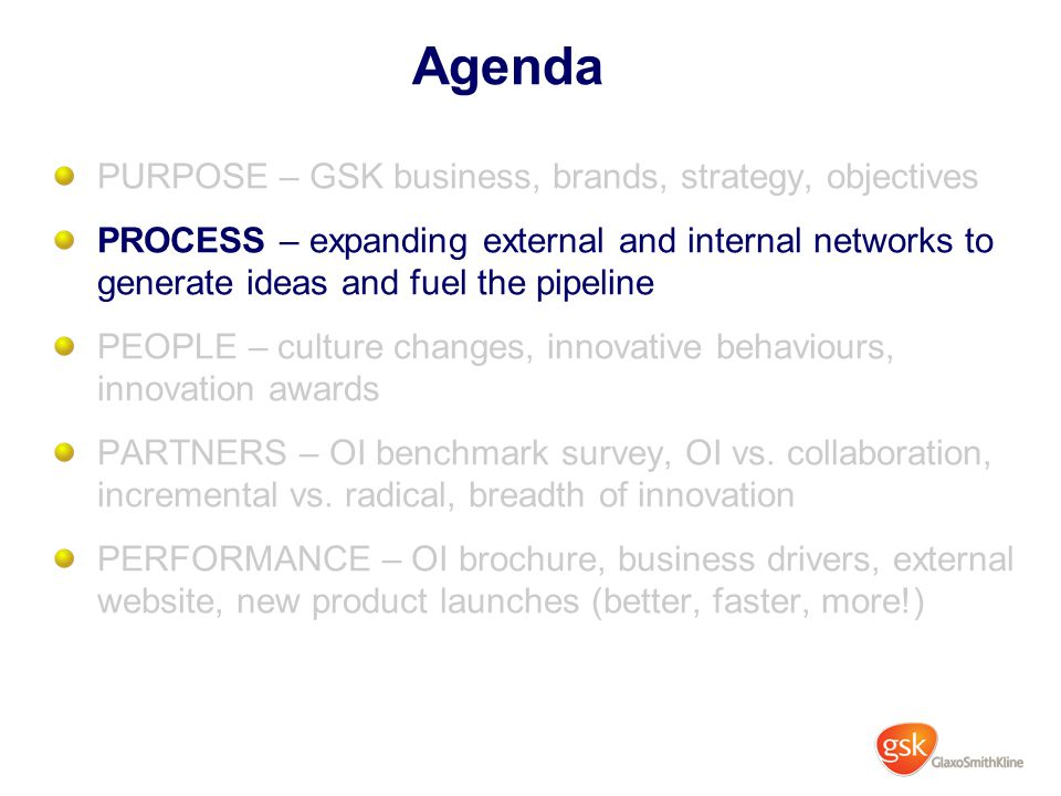 Agenda PURPOSE – GSK business, brands, strategy, objectives PROCESS – expanding external and internal networks to generate ideas and fuel the pipeline