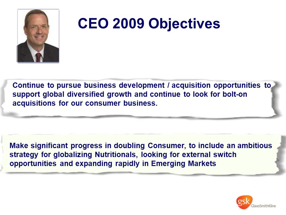 CEO 2009 Objectives Continue to pursue business development / acquisition opportunities to support global diversified growth and continue to look for