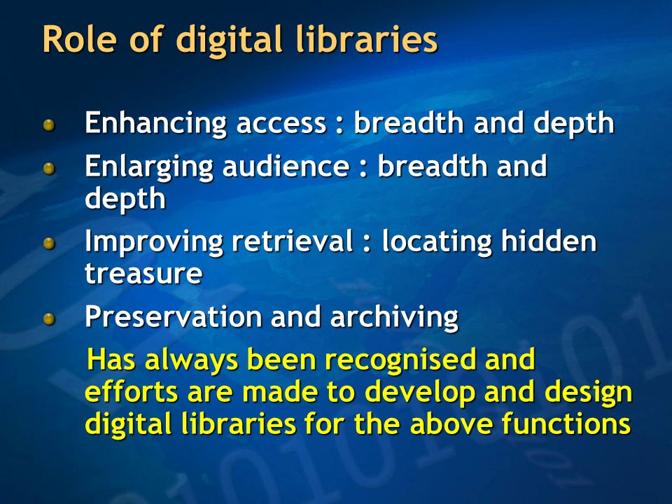Digital libraries and education-from asynchronous to synchronous mode Learning moving beyond acquiring facts and data Learning can be more interactive with the support of DLs DLs support rich interaction Classrooms are becoming creative work spaces Teacher's lectures linked to supporting materials, tools and resources Blending of library support with classroom teaching in a synchronous rather than asynchronous manner Practical training, visits to museums, galleries and all other activities may be made synchronous today with the help of DLs