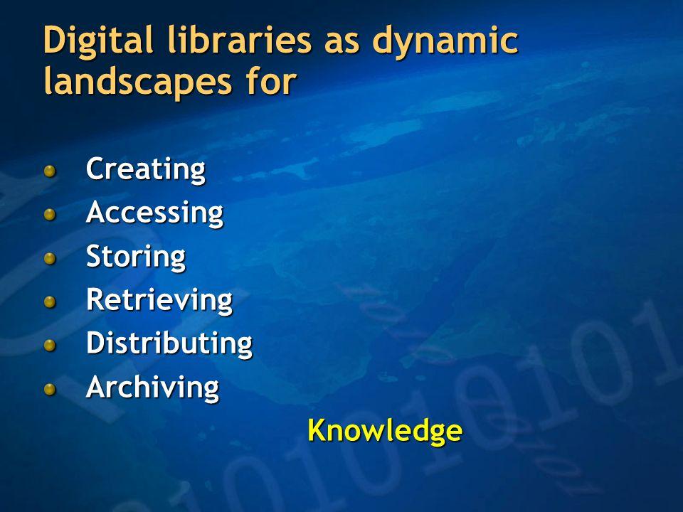 Digital libraries as dynamic landscapes for CreatingAccessingStoringRetrievingDistributingArchiving Knowledge Knowledge