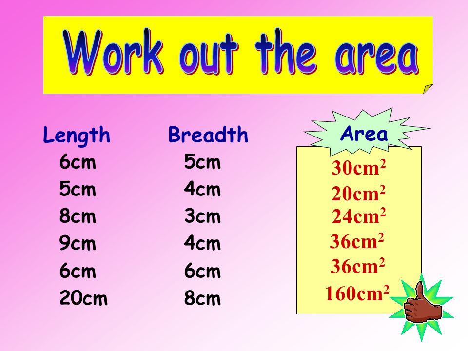 11 cm 7 cm Area = length x breadth = 11 cm x 7 cm = 77 cm 2