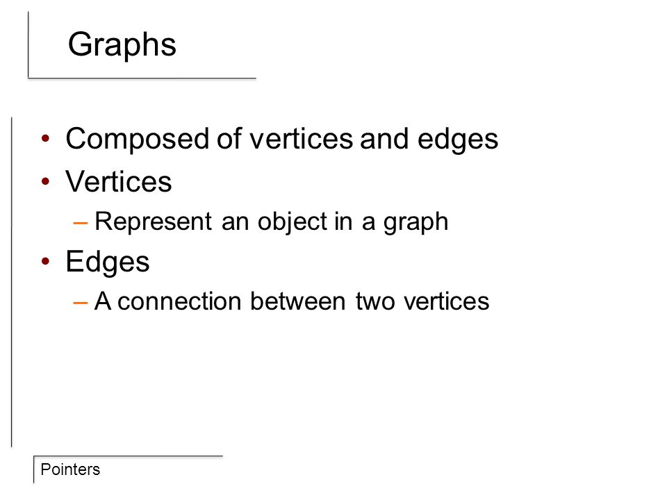 Pointers Graphs Composed of vertices and edges Vertices –Represent an object in a graph Edges –A connection between two vertices