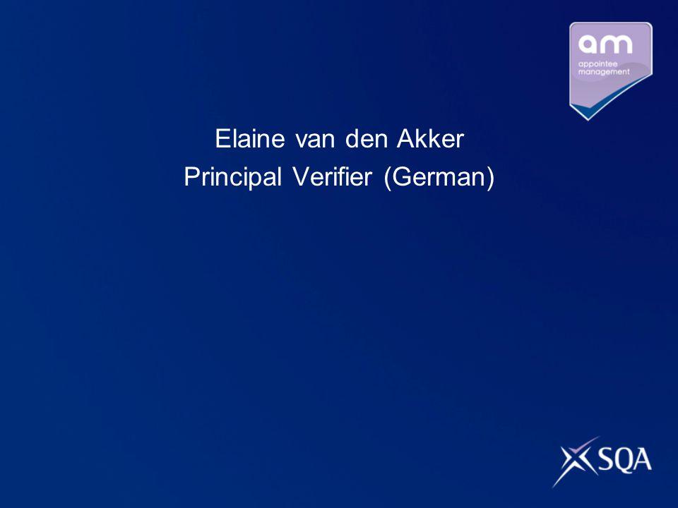 Elaine van den Akker Principal Verifier (German)