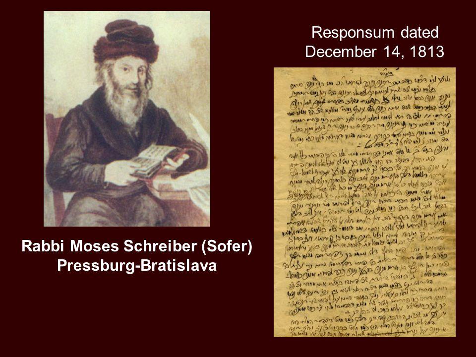 Rabbi Moses Schreiber (Sofer) Pressburg-Bratislava Responsum dated December 14, 1813