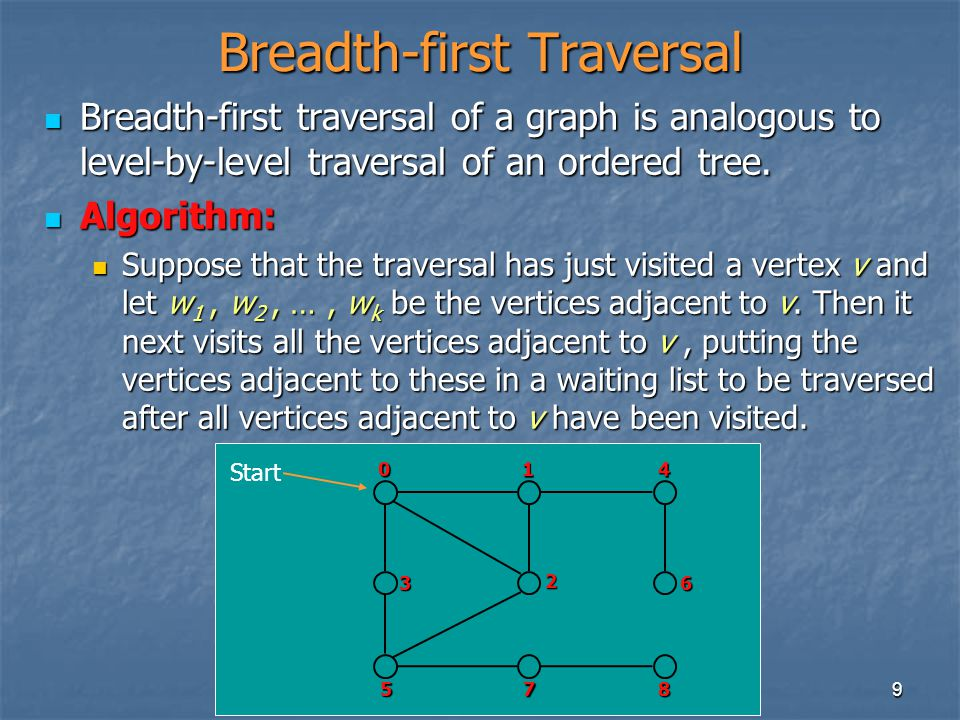 9 Breadth-first Traversal Breadth-first traversal of a graph is analogous to level-by-level traversal of an ordered tree.