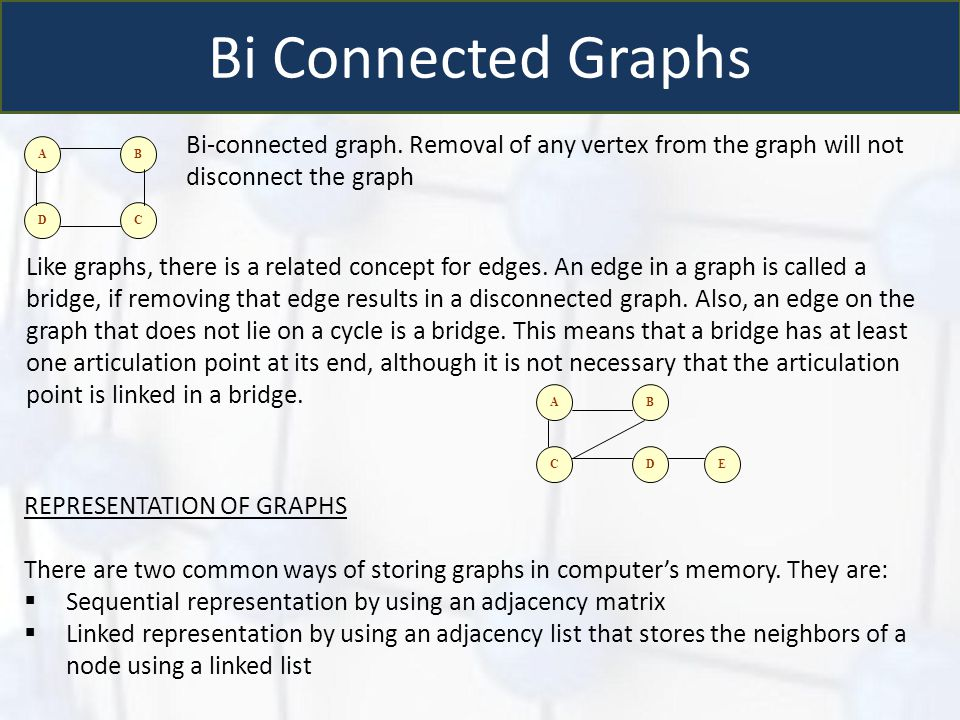 Bi Connected Graphs AB DC Bi-connected graph. Removal of any vertex from the graph will not disconnect the graph Like graphs, there is a related conce