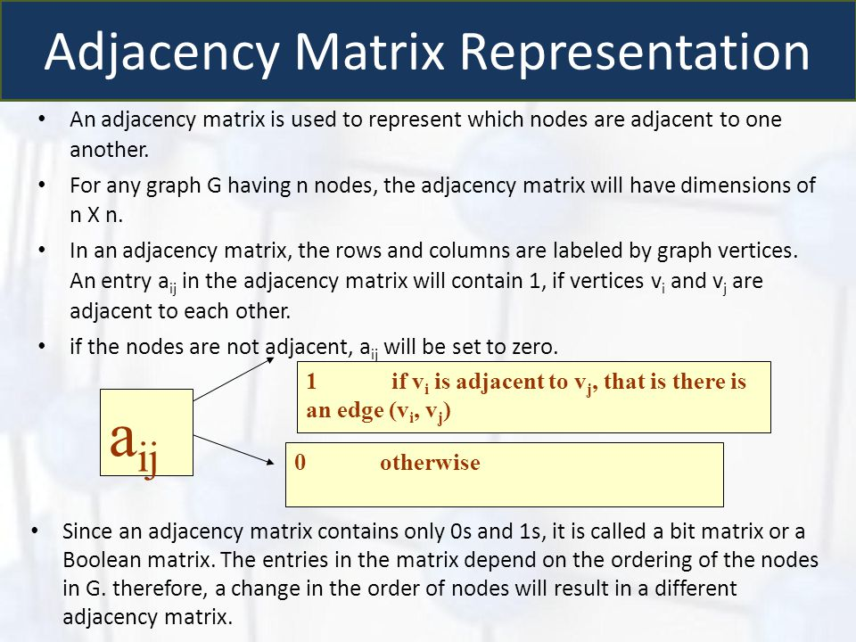 Adjacency Matrix Representation An adjacency matrix is used to represent which nodes are adjacent to one another. For any graph G having n nodes, the