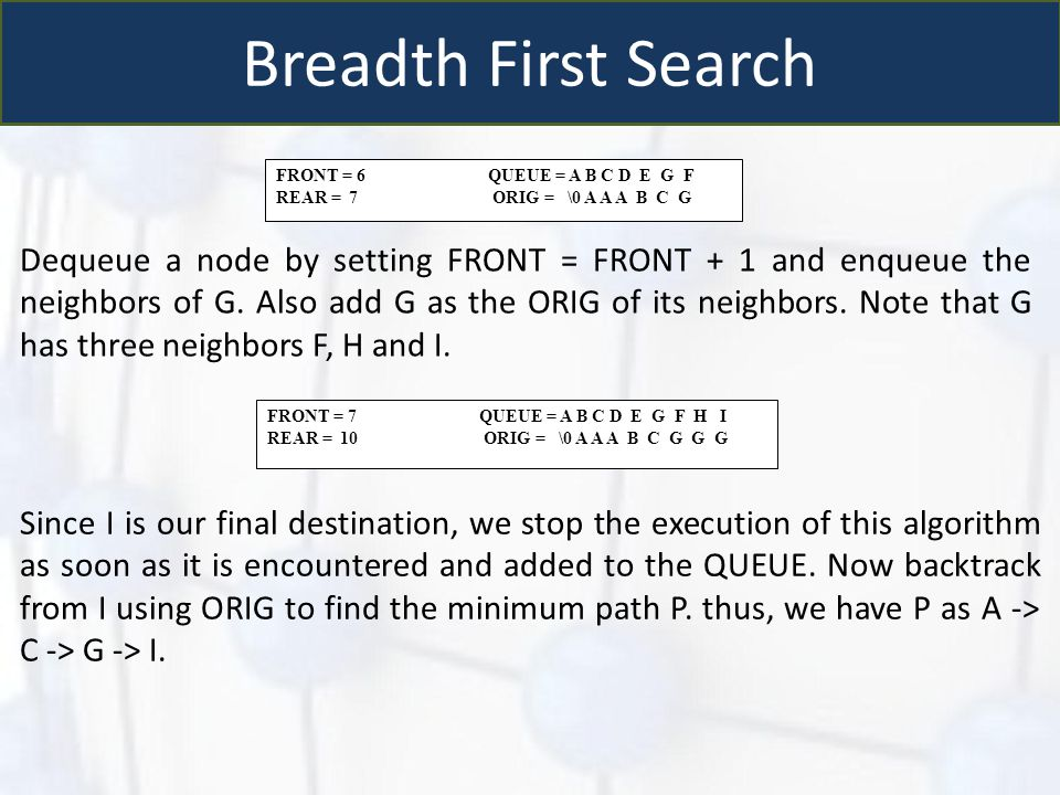 Breadth First Search FRONT = 6 QUEUE = A B C D E G F REAR = 7 ORIG = \0 A A A B C G Dequeue a node by setting FRONT = FRONT + 1 and enqueue the neighb