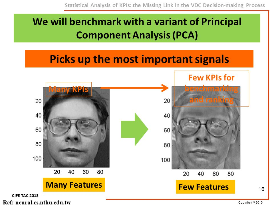 Copyright  2013 CIFE TAC 2013 Statistical Analysis of KPIs: the Missing Link in the VDC Decision-making Process Ref: neural.cs.nthu.edu.tw We will be