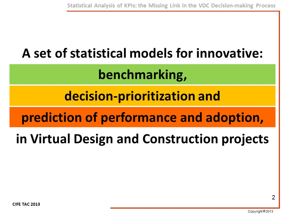 Copyright  2013 CIFE TAC 2013 Statistical Analysis of KPIs: the Missing Link in the VDC Decision-making Process Preliminary Work (Aug 2013) Survey Design (Sep-Oct 2013) Data Preparation (Nov 2013) Model Building (Dec-Feb 2013) Validation and Refining (Feb 2013) Timetable 23  Addition of KPIs to Scorecard  Testing of statistical methods on sample data  Surveying108 cases (Online – Web survey)  Data cleaning and cross checking  Organizing the data for analysis  Descriptive Analysis and assumption checks  Statistical model based on SEM, FA, CHAID  Test data  Using expert opinions