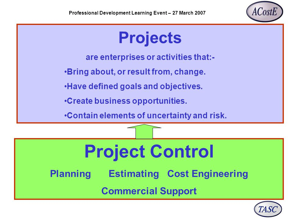 Professional Development Learning Event – 27 March 2007 Projects are enterprises or activities that:- Bring about, or result from, change.