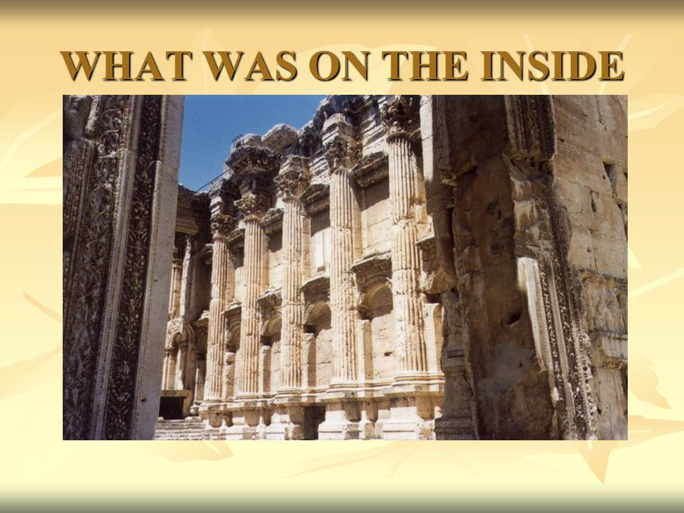 WHAT WAS ON THE INSIDE much of the minor decorative relief sculpture has remained intact.