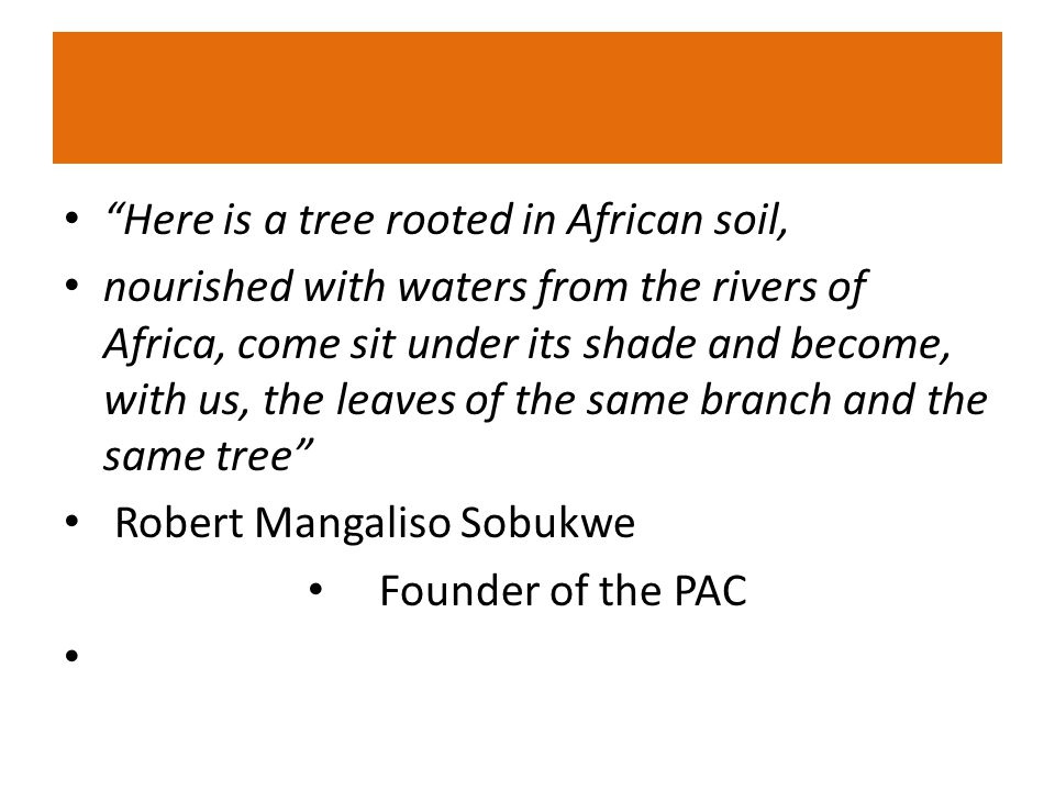 Here is a tree rooted in African soil, nourished with waters from the rivers of Africa, come sit under its shade and become, with us, the leaves of the same branch and the same tree Robert Mangaliso Sobukwe Founder of the PAC