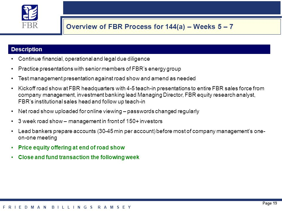 F R I E D M A N B I L L I N G S R A M S E Y Page 19 Overview of FBR Process for 144(a) – Weeks 5 – 7 Description Continue financial, operational and legal due diligence Practice presentations with senior members of FBR's energy group Test management presentation against road show and amend as needed Kickoff road show at FBR headquarters with 4-5 teach-in presentations to entire FBR sales force from company management, investment banking lead Managing Director, FBR equity research analyst, FBR's institutional sales head and follow up teach-in Net road show uploaded for online viewing – passwords changed regularly 3 week road show – management in front of 150+ investors Lead bankers prepare accounts (30-45 min per account) before most of company management's one- on-one meeting Price equity offering at end of road show Close and fund transaction the following week