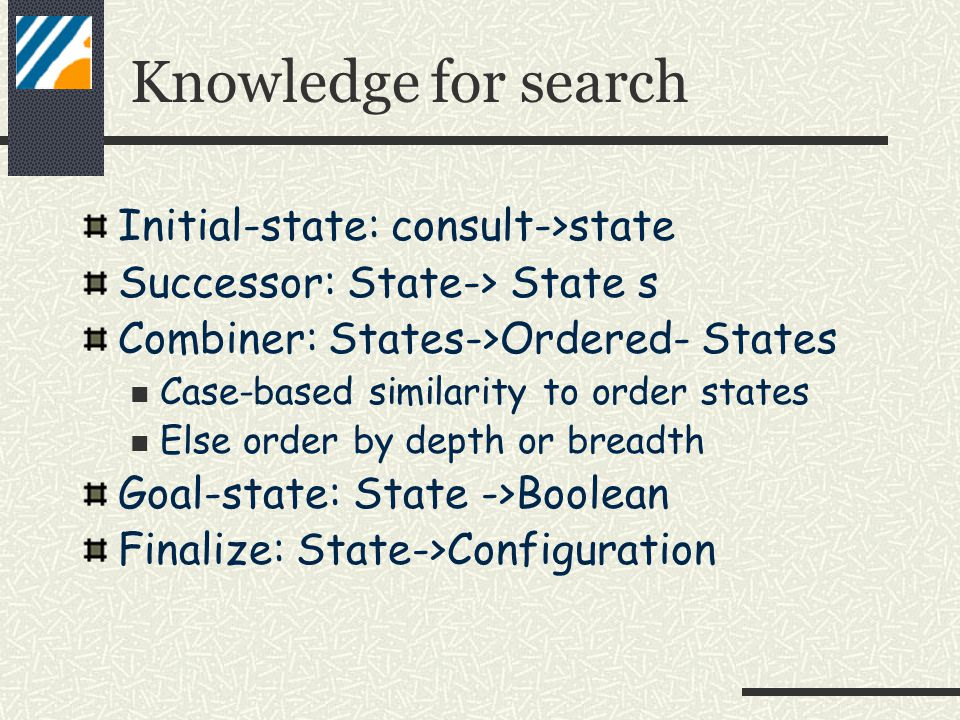 Knowledge for search Initial-state: consult->state Successor: State-> State s Combiner: States->Ordered- States Case-based similarity to order states Else order by depth or breadth Goal-state: State ->Boolean Finalize: State->Configuration