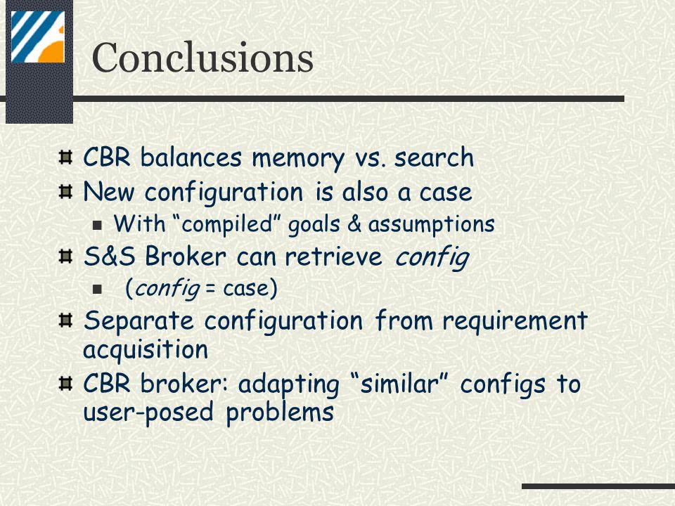 Conclusions CBR balances memory vs.