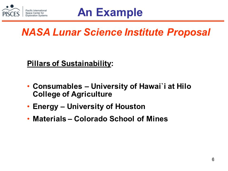 6 An Example Pillars of Sustainability: Consumables – University of Hawai`i at Hilo College of Agriculture Energy – University of Houston Materials –