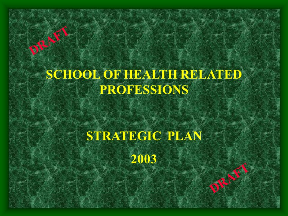 SCHOOL OF HEALTH RELATED PROFESSIONS STRATEGIC PLAN 2003 DRAFT
