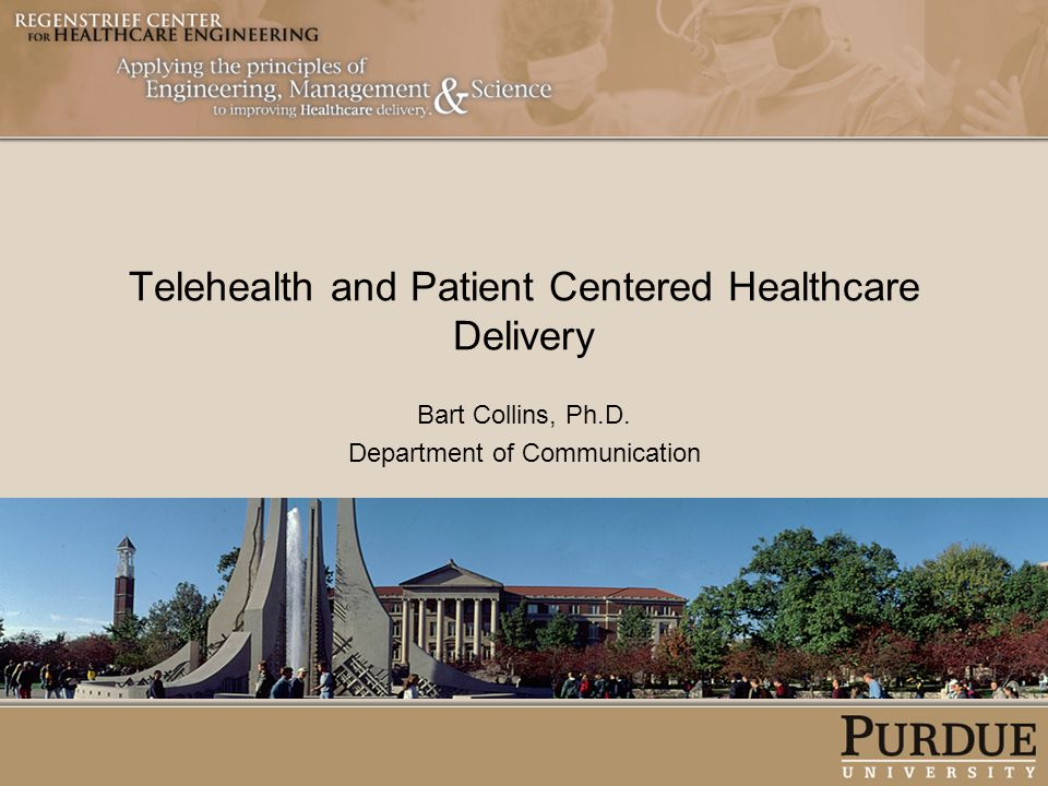 Telehealth and Patient Centered Healthcare Delivery Bart Collins, Ph.D. Department of Communication