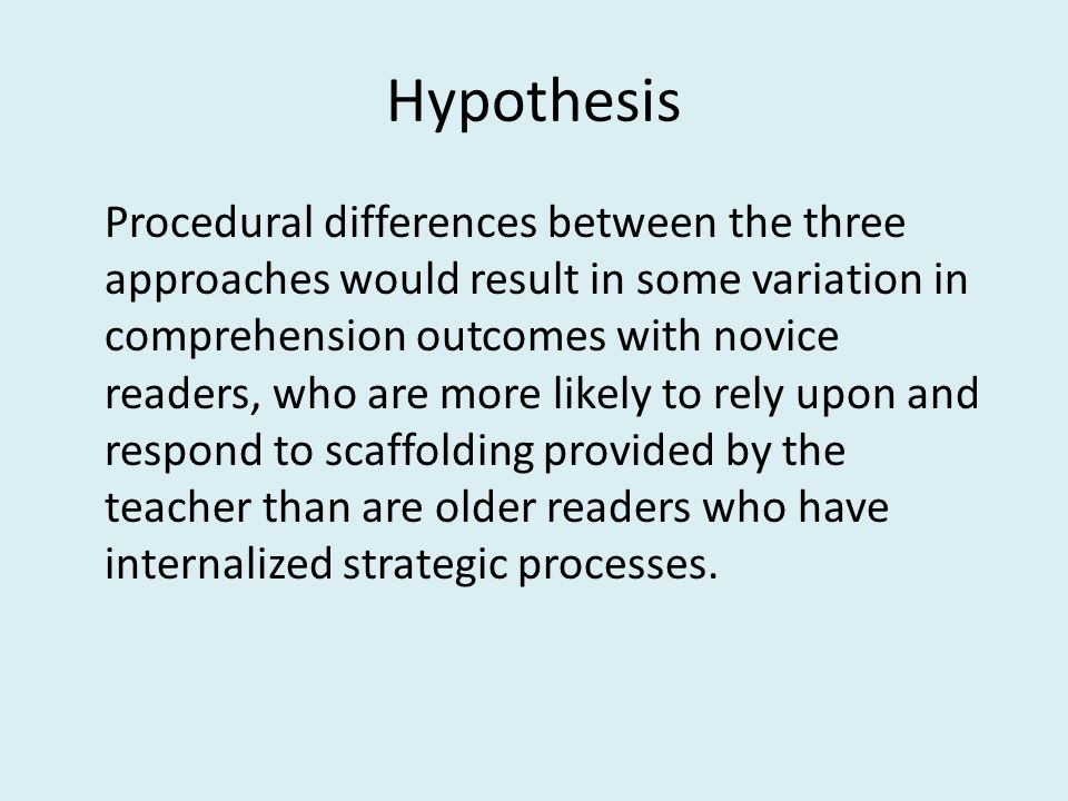 Hypothesis Procedural differences between the three approaches would result in some variation in comprehension outcomes with novice readers, who are more likely to rely upon and respond to scaffolding provided by the teacher than are older readers who have internalized strategic processes.