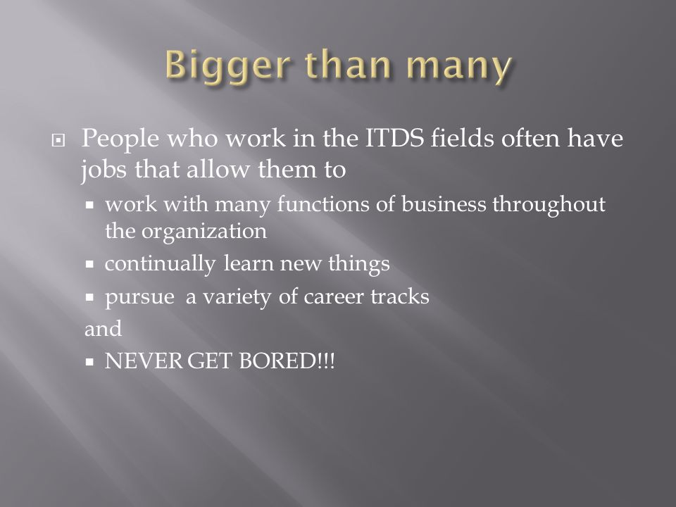  People who work in the ITDS fields often have jobs that allow them to  work with many functions of business throughout the organization  continually learn new things  pursue a variety of career tracks and  NEVER GET BORED!!!