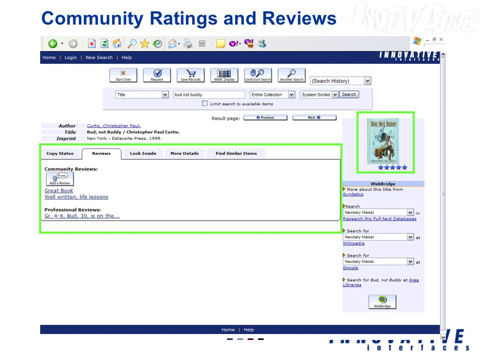 Community Ratings and Reviews