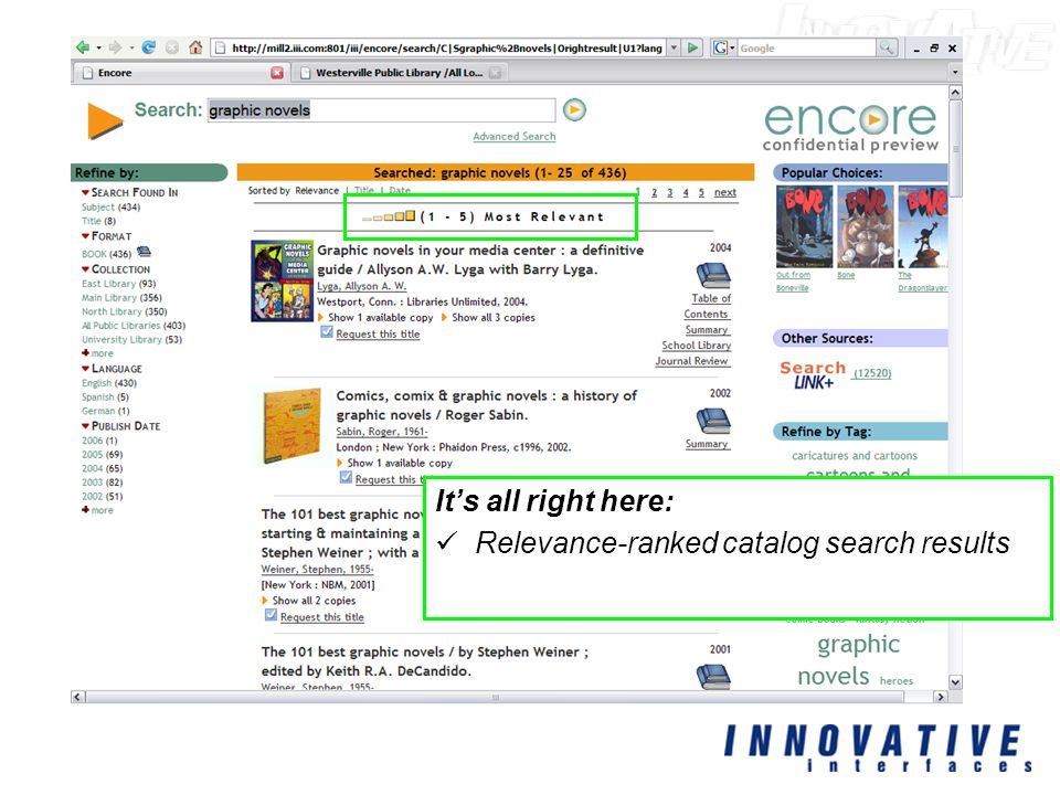 It's all right here: Relevance-ranked catalog search results