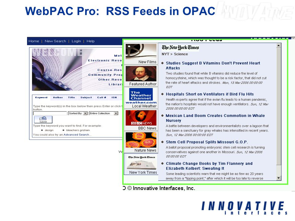 WebPAC Pro: RSS Feeds in OPAC