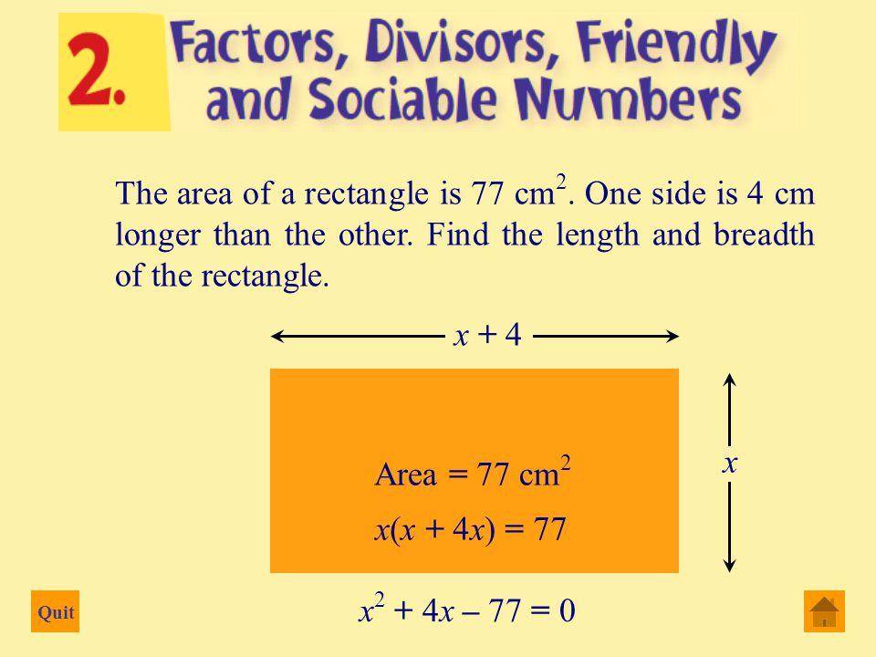 Quit a = 1 b = 9 c = 20 (9) 2  4(1)(20) 2(1) x =   (9)  x 2 + 9x + 20 = 0 b  4ac 2 2a2a x = b b  81 – 80 2 =  9  1 2 = 2 =  9  1   8 2 = x =   4 or – 5 or   10 2