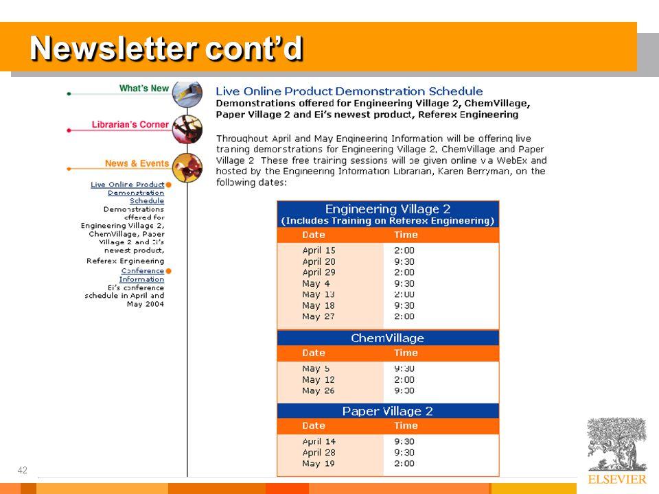 42 Newsletter cont'd