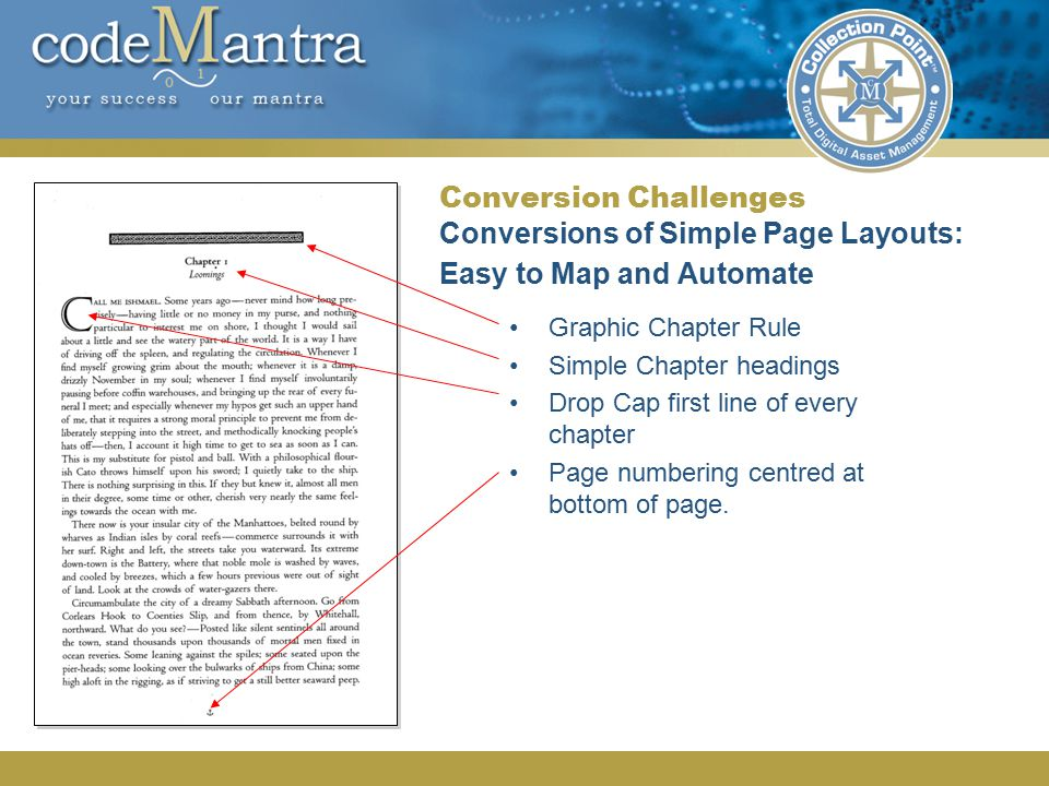 Conversion Challenges Conversions of Simple Page Layouts: Easy to Map and Automate Graphic Chapter Rule Simple Chapter headings Drop Cap first line of every chapter Page numbering centred at bottom of page.