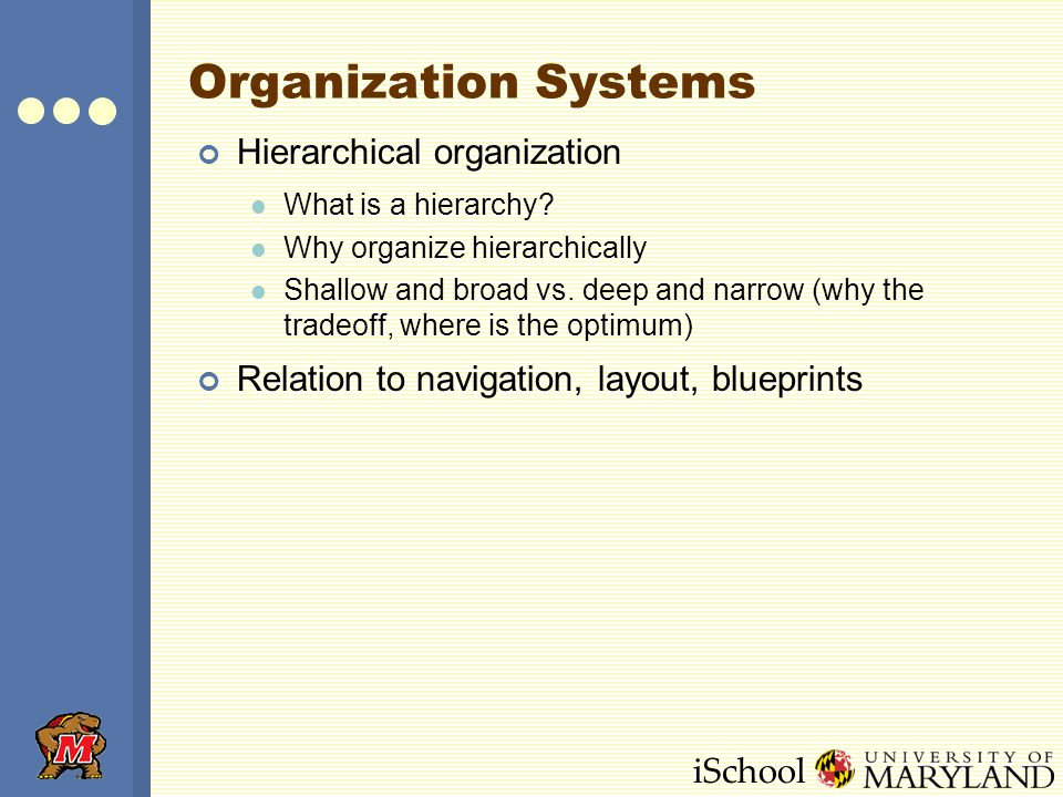 iSchool Organization Systems Hierarchical organization What is a hierarchy? Why organize hierarchically Shallow and broad vs. deep and narrow (why the