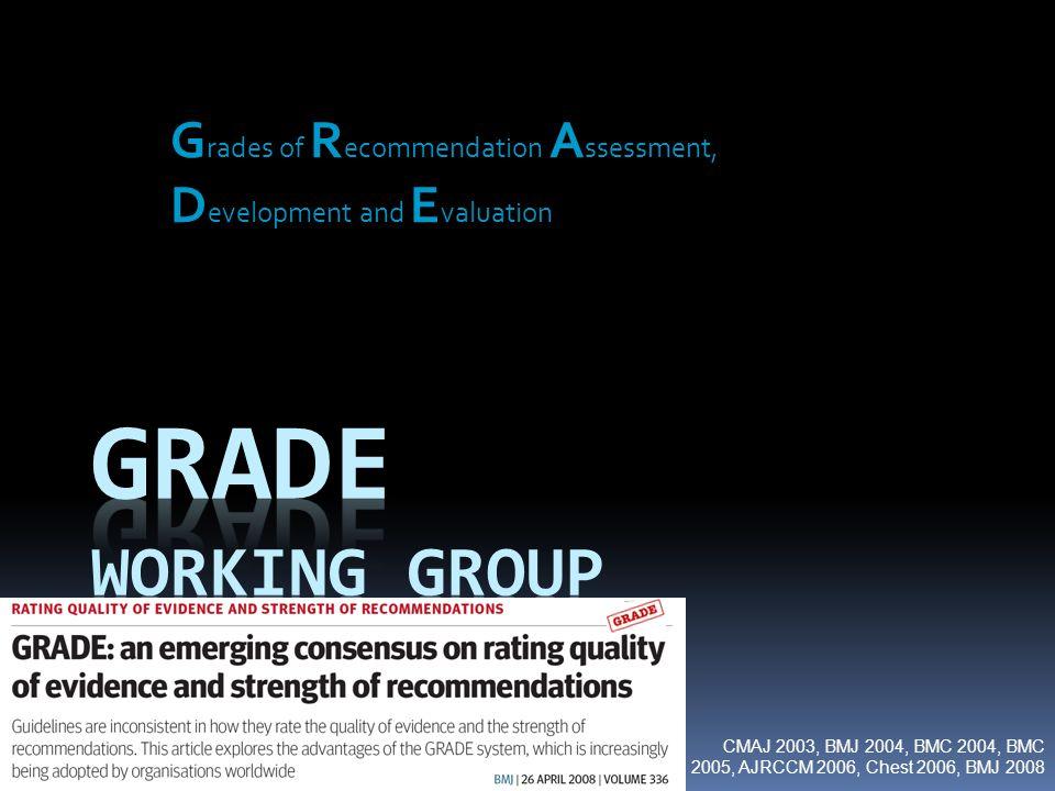 G rades of R ecommendation A ssessment, D evelopment and E valuation CMAJ 2003, BMJ 2004, BMC 2004, BMC 2005, AJRCCM 2006, Chest 2006, BMJ 2008