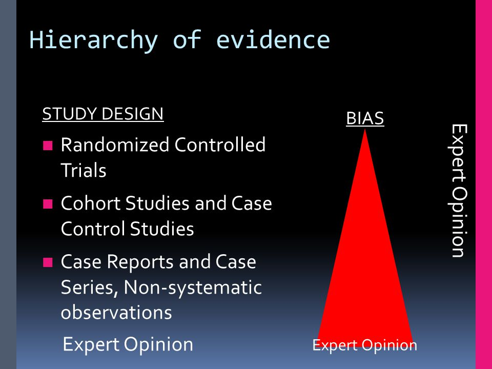 Hierarchy of evidence STUDY DESIGN Randomized Controlled Trials Cohort Studies and Case Control Studies Case Reports and Case Series, Non-systematic observations BIAS Expert Opinion