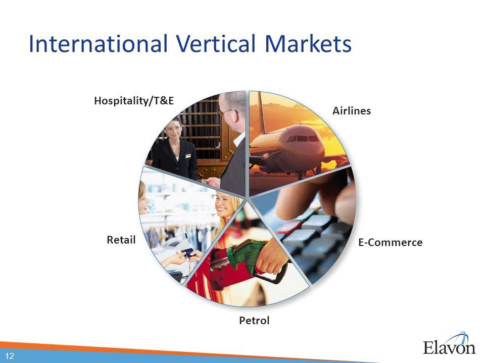 12 International Vertical Markets E-Commerce Airlines Hospitality/T&E Retail Petrol 12
