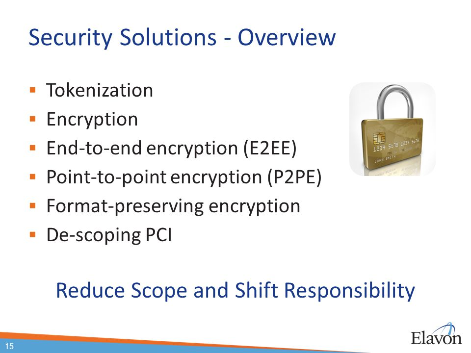 Security Solutions - Overview  Tokenization  Encryption  End-to-end encryption (E2EE)  Point-to-point encryption (P2PE)  Format-preserving encryp